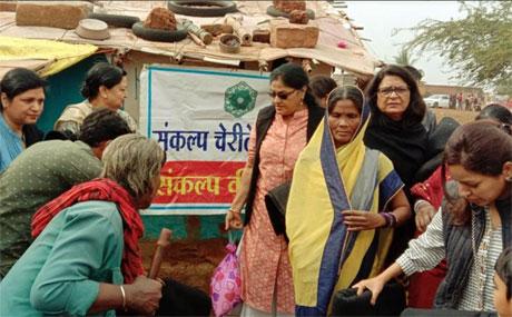 Sankalp distributes ration and blankets  at Bhatgaon