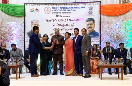 CM Bhupesh receives a warm welcome in America