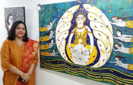 Nandini Verma displayes her paintings in Nehru Art Gallery