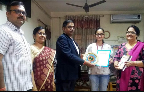 Prateeksha of Science College shines in KN Bajaj Elocution Competition