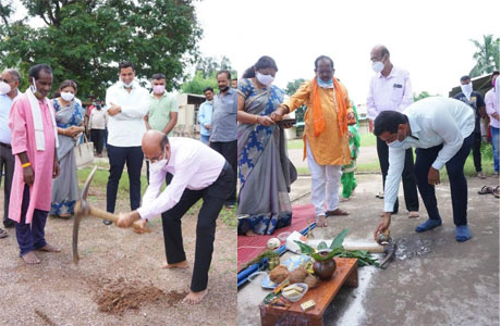 Mayor Devendra lays foundation stone for Basket Ball court in BNS