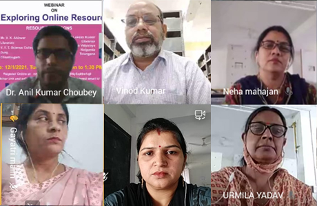 Webinar on E-Resources of learning at MJ College
