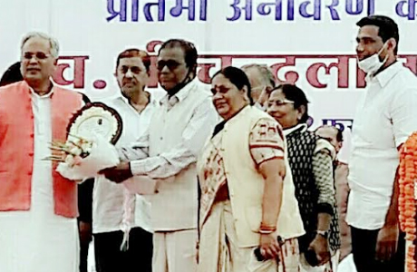 Padmashree Nelson felicitated by CM Bhupesh Baghel