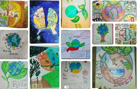 स्वरूपानंद महाविद्यालय में पृथ्वी दिवस पर पोस्टर एवं स्लोगन स्पर्धा